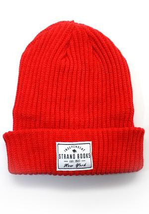 Beanie: Red Independent Knit Strand Exclusives